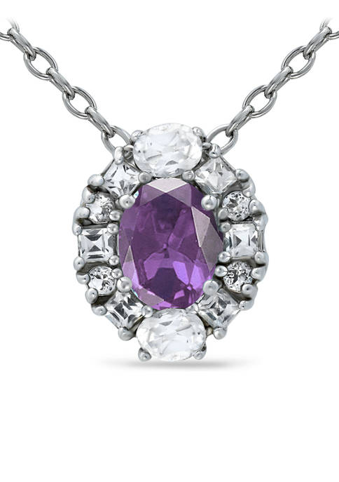 1.75 ct.t.w. African Amethyst and White Topaz Halo Pendant Necklace in Sterling Silver