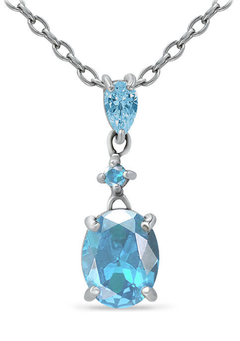 2.15 ct.t.w. Swiss Blue Topaz and  White Topaz Drop Pendant Necklace in Sterling Silver