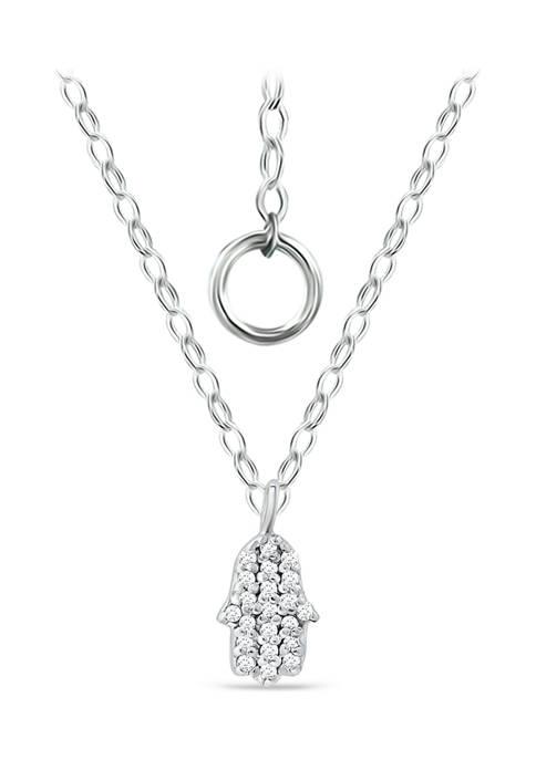 1/10 ct. t.w. Diamond Hamsa Pendant Necklace in Sterling Silver