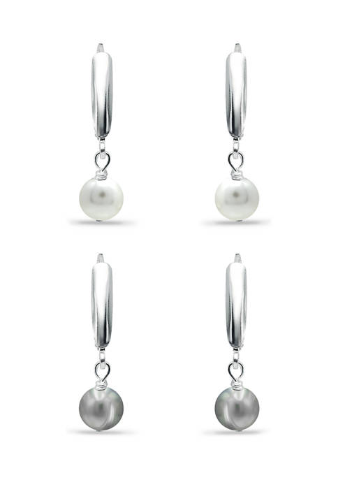 8 Millimeter White and Gray Freshwater Pearl Drop Earrings Set in Sterling Silver