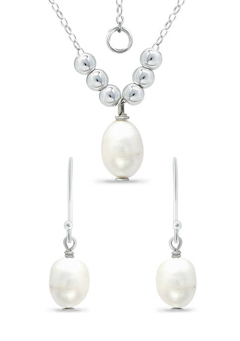 Fresh Water Pearl and Silver Bead Necklace Earring 2-Piece Set in Sterling Silver
