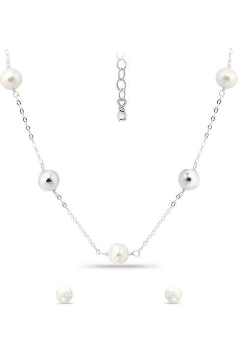 2 Piece 8 Millimeter Freshwater Pearl Station Necklace and Silver Stud Earrings Set in Sterling Silver