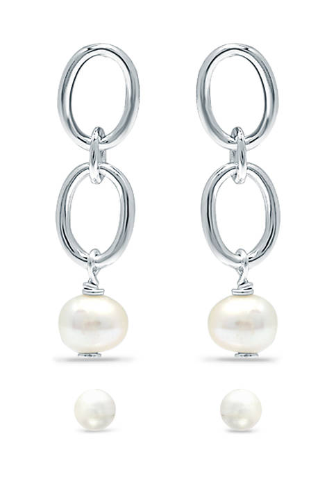 2 Piece Freshwater Pearl Stud and Drop Earrings Set in Sterling Silver