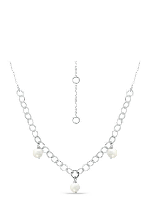 Freshwater Pearl Station Link Chain Necklace