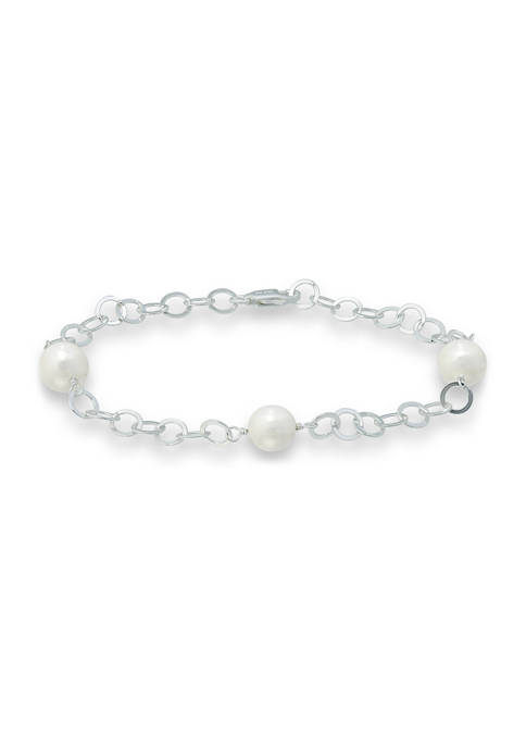 Freshwater Pearl Station Link Chain Bracelet