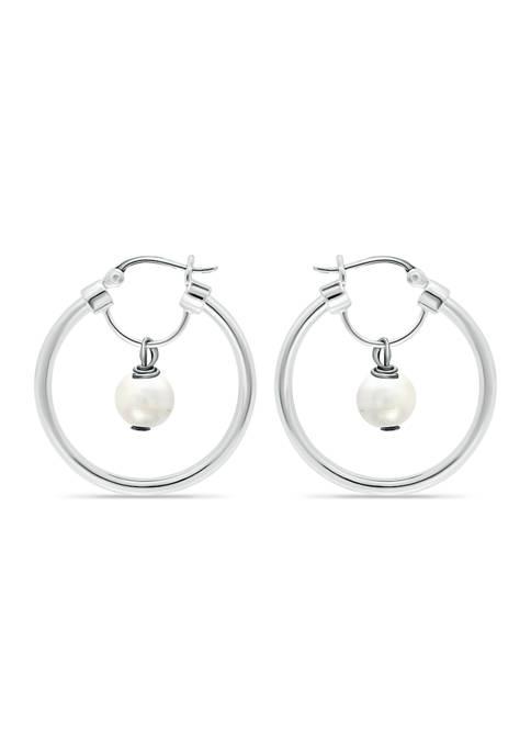 Fresh Water Pearl Drop Hoop Earrings in Sterling Silver