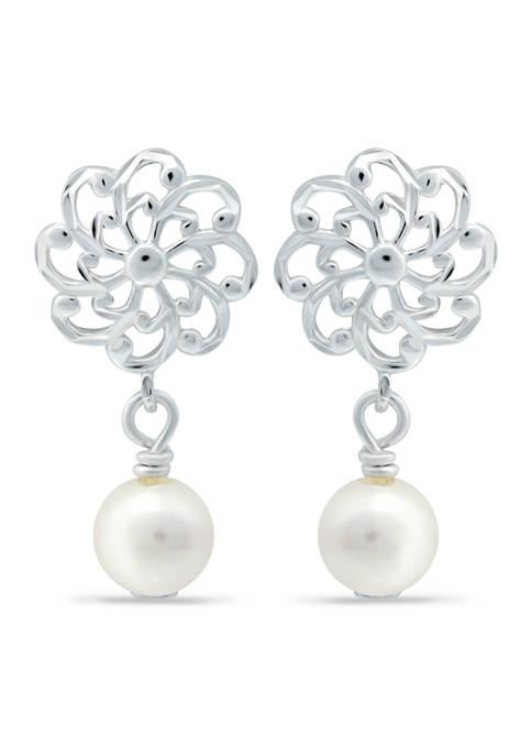 Freshwater Pearl and Diamond Cut Flower Drop Earrings in Sterling Silver