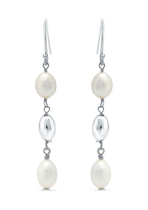 10 mm x 8 mm Freshwater Pearl Drop Earrings in Sterling Silver