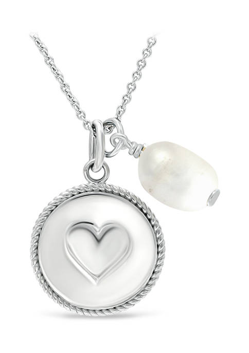 Fresh Water Pearl and Heart Charm Necklace in Sterling Silver