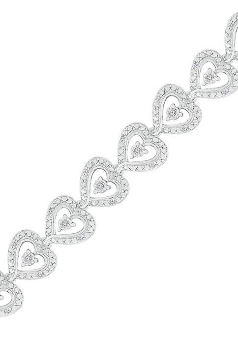 1/4 ct. t.w. Sterling Silver Heart Bracelet