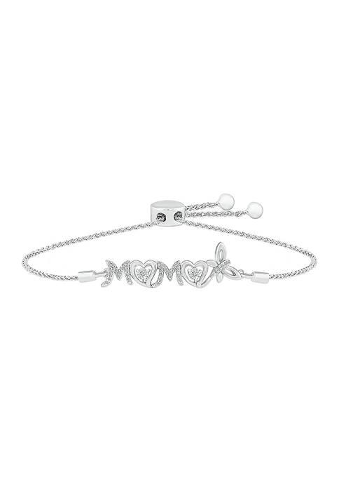 1/8 ct. t.w. Diamond Mom Bolo Bracelet in Sterling Silver