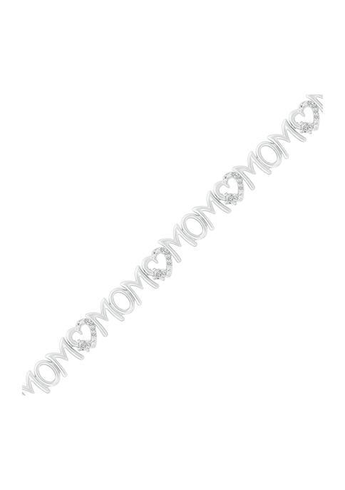 1/8 ct. t.w. Diamond Mom Heart Bracelet in Sterling Silver
