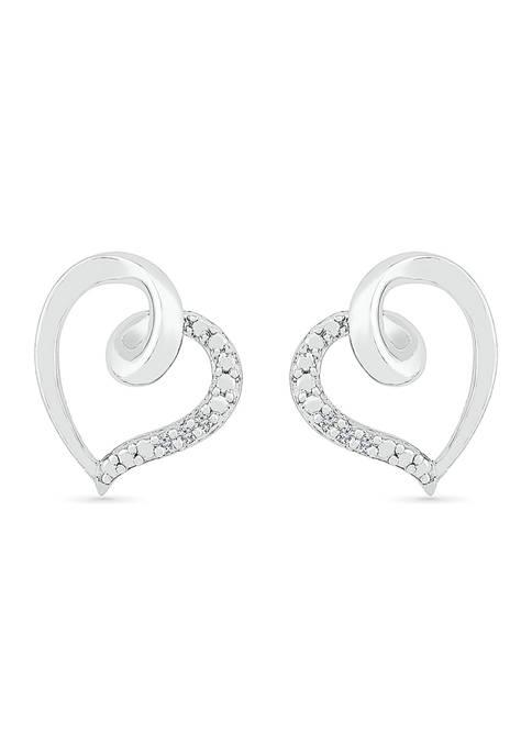 Diamond Accent Sterling Silver Heart Earrings