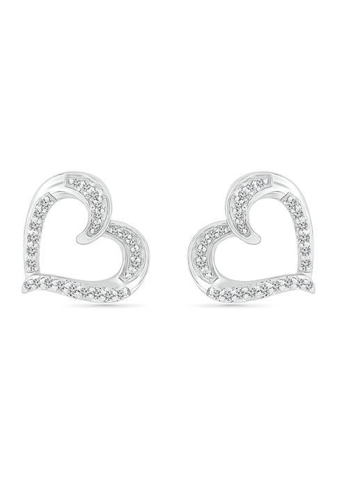1/8 ct. t.w. Sterling Silver Heart Earrings