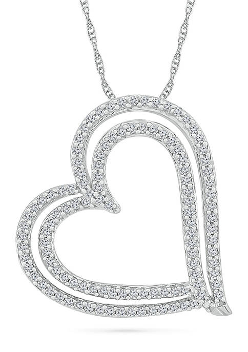 1/2 ct. t.w. Sterling Silver Heart Pendant Necklace