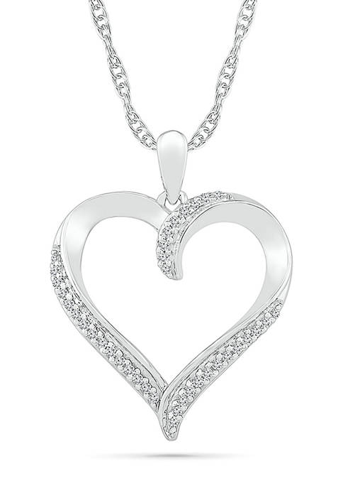 1/8 ct. t.w. Sterling Silver Heart Pendant Necklace