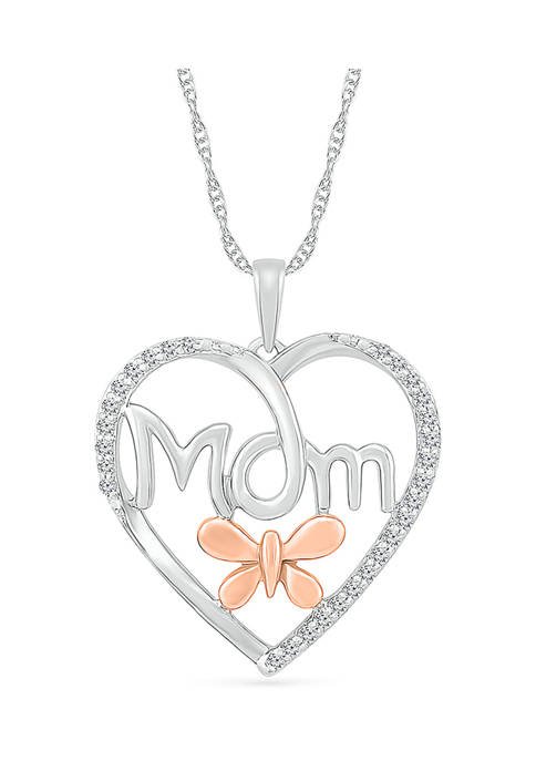 1/6 ct. t.w. Diamond Heart Mom Pendant in Sterling Silver & 10K Rose Gold