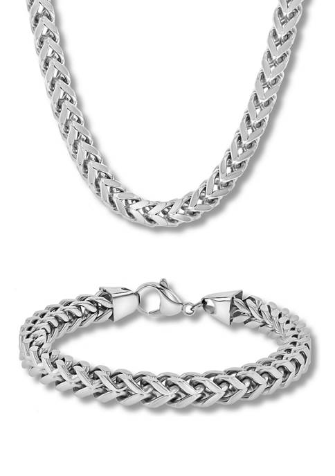 Curb Link Chain Bracelet and Necklace Set in Two-Tone Stainless Steel