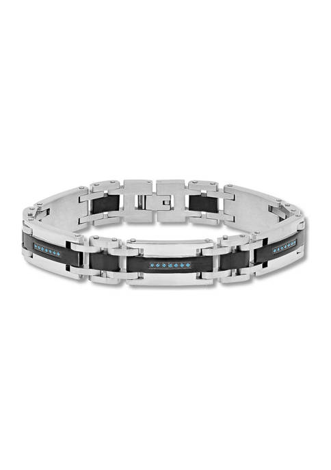 1/4 ct. t.w. Blue Diamond Link Bracelet in Two-Tone Stainless Steel