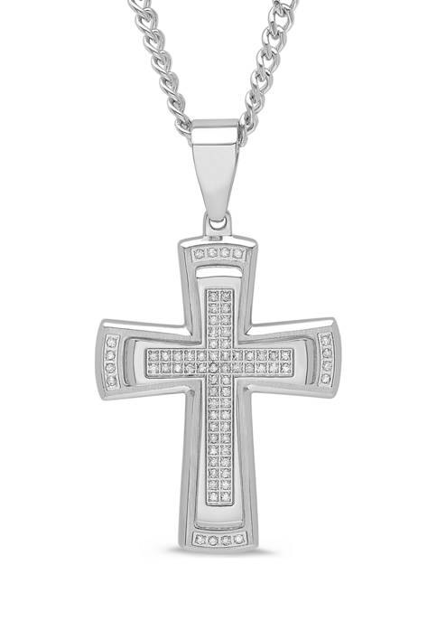 3/8 ct. t.w. Diamond Stacked Cross Pendant in Stainless Steel