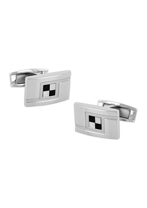 Belk & Co. Checkered Rectangle Cufflinks in Stainless