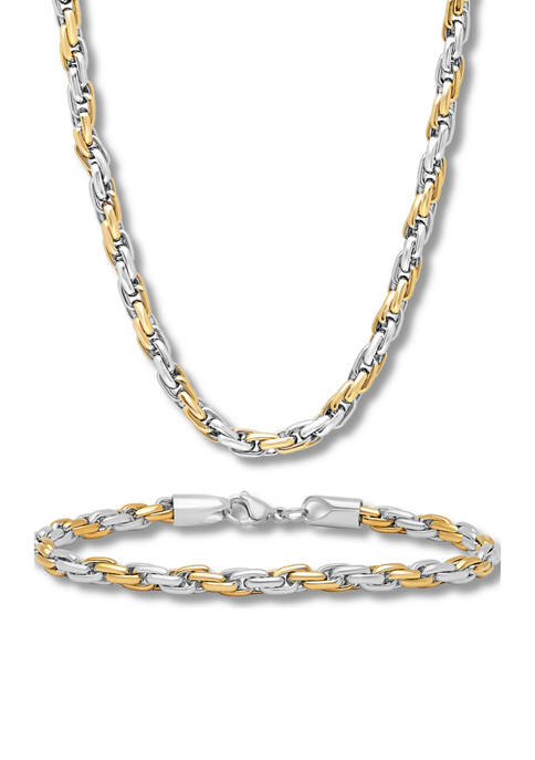 Rope Link Chain Bracelet and Necklace Set in Two-Tone Stainless Steel