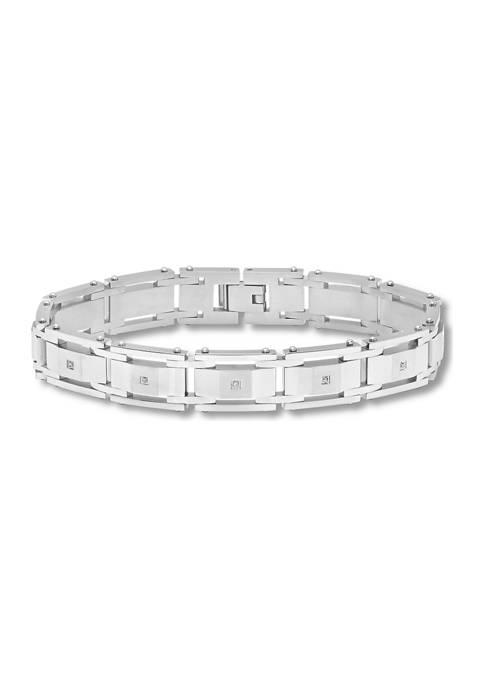1/10 ct. t.w. Diamond Link Bracelet in Stainless Steel
