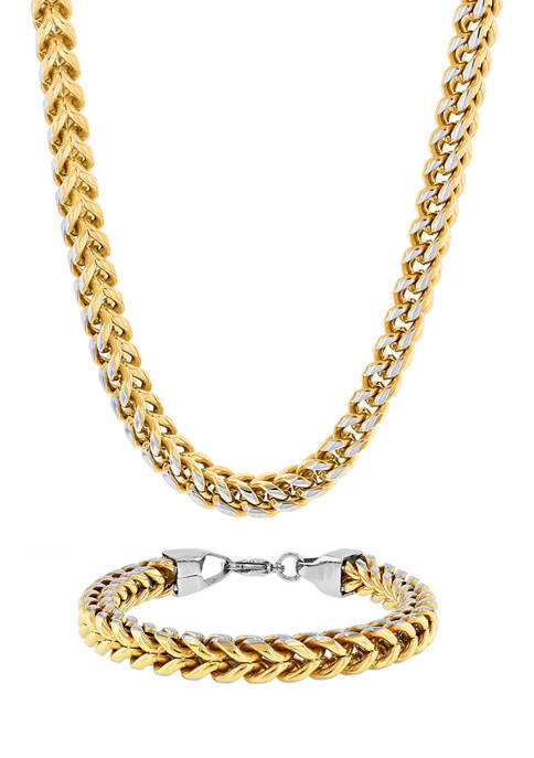 Franco Link Chain Bracelet and Necklace Set in Gold-Tone Stainless Steel