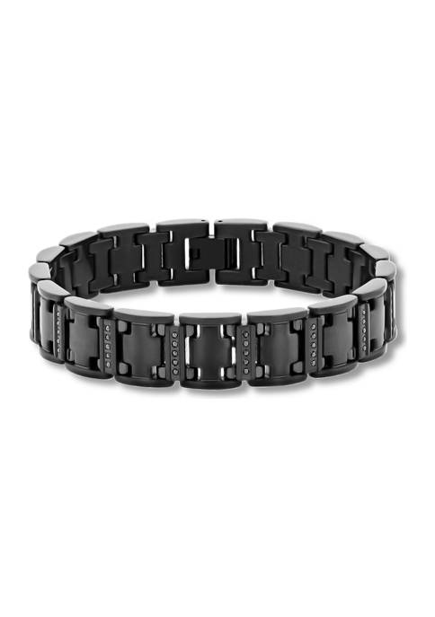 1/2 ct. t.w. Black Diamond Link Bracelet in Black Stainless Steel