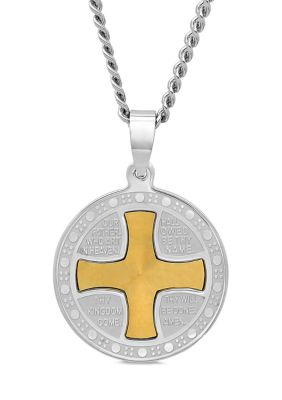 Belk Co. Mens The Lords Prayer Medallion Pendant In Two-Tone Stainless Steel