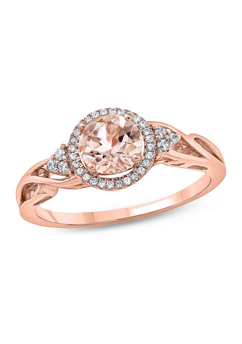 1/10 ct. t.w. White Diamond and 5/8 ct. t.w. Morganite Promise Ring in 10k Rose Gold