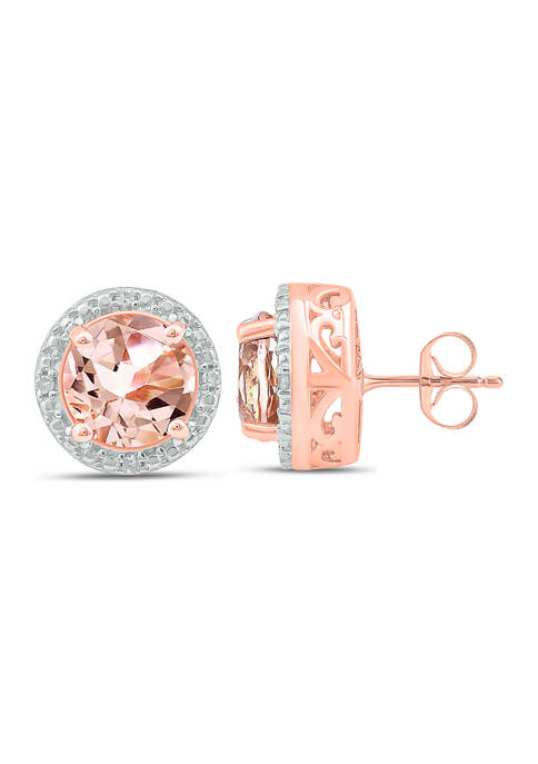 1/10 ct. t.w. White Diamond and 1.34 ct. t.w. Created Morganite Stud Earrings in Sterling Silver