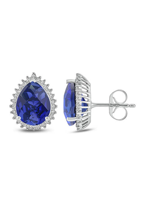 1/4 ct. t.w. White Diamond and 1/10 ct. t.w. Created Blue Sapphire Stud Earrings in 10k White Gold