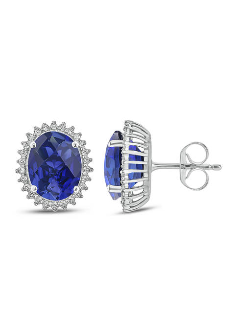 1/5 ct. t.w. White Diamond and 1/10 ct. t.w. Created Blue Sapphire Stud Earrings in 10k White Gold