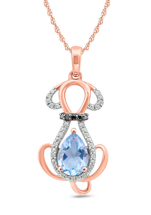 1/10 ct. t.w. White Diamond and 5/8 ct. t.w. Aquamarine Necklace in 10k Rose Gold