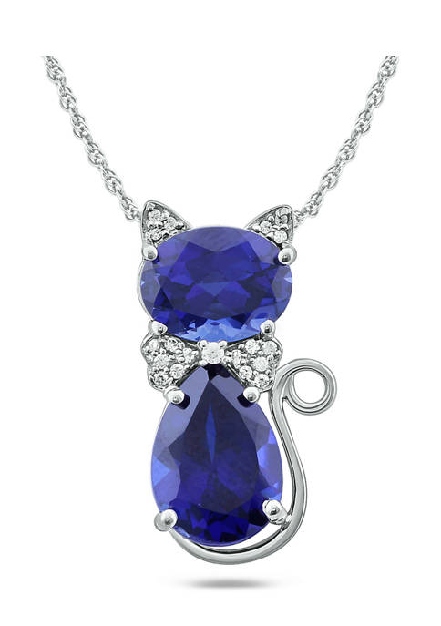 6.2 ct. t.w. Blue Sapphire and 1/10 ct. t.w. Diamonds Cat Pendant Necklace in 10K White Gold