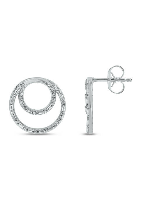 3/8 ct. t.w. Baguette Round White Diamond Circle Stud Earrings in 14K White Gold