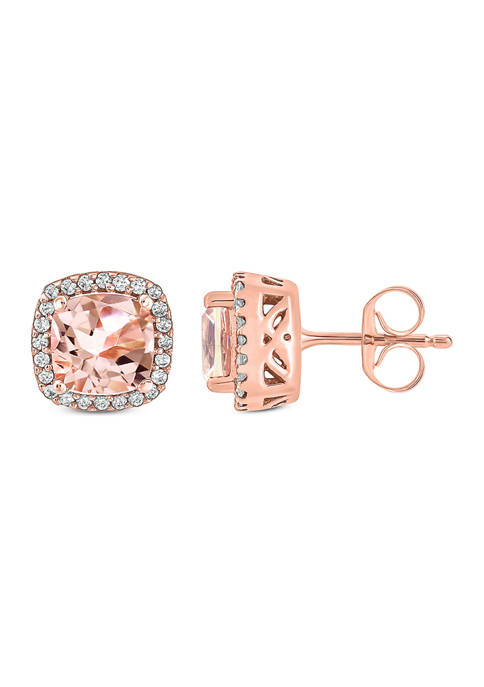 1/10 ct. t.w. White Diamond and 1.14 ct. t.w. Morganite Stud Earrings in 10k Rose Gold