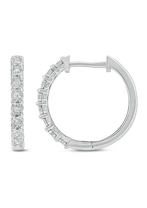 1/6 ct. t.w. Round White Diamond Hoop Earrings in Sterling Silver