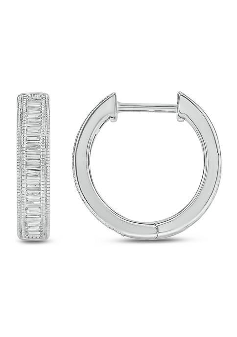 1/5 ct. t.w. Diamond Hoop Earrings in 10K White Gold