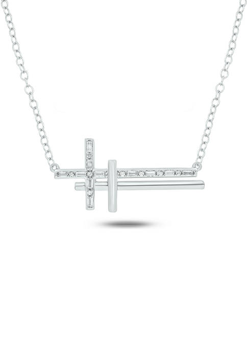 1/10 ct. t.w. Baguette Round White Diamond Sideways Cross Pendant Necklace in Gold Over Sterling Silver