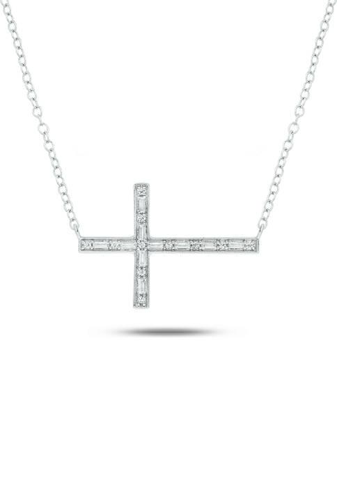 1/10 ct. t.w. Baguette Round White Diamond Sideways Cross Pendant Necklace in 14K White Gold