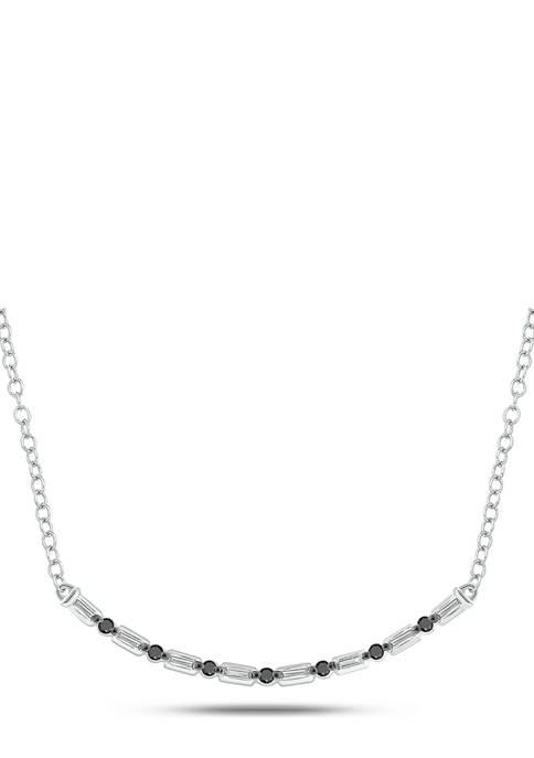 1/6 ct. t.w. Black Diamond and 1/10 ct. t.w. White Diamond Curve Necklace in 14K White Gold