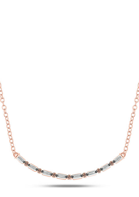 1/10 ct. t.w. Champagne Diamond and 1/10 ct. t.w. White Diamond Curve Necklace in 14K Rose Gold