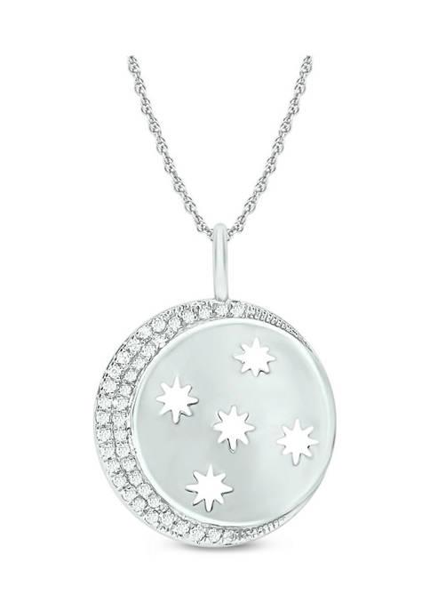 1/10 ct. t.w. Diamond Moon Star Pendant in Sterling Silver