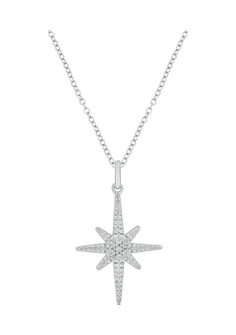 1/10 ct. t.w. Diamond Asterisk Star Pendant in Sterling Silver