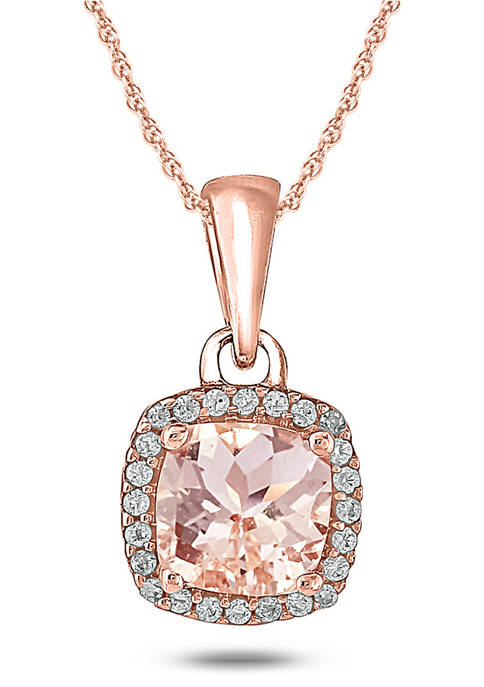 1/10 ct. t.w. White Diamond and 1/2 ct. t.w. Morganite Necklace in 10k Rose Gold