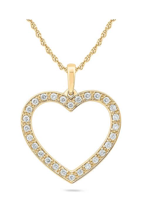 1/4 ct. t.w. Diamond Heart Pendant 10K Yellow Gold
