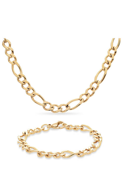 Stainless Steel Gold Ion Plated 3+1 Figaro Necklace and Bracelet Set