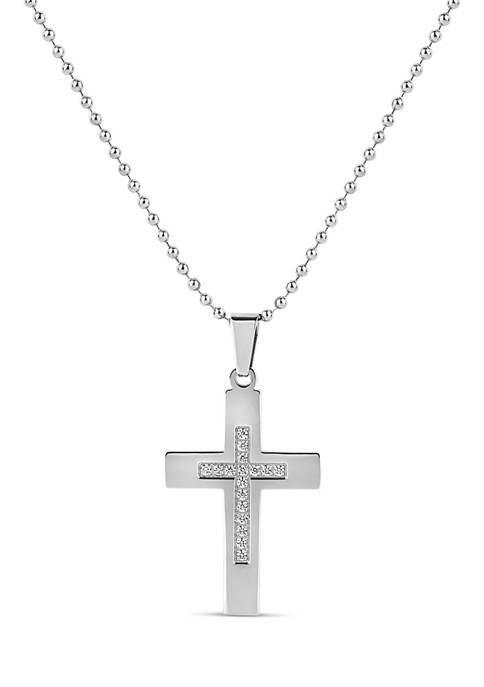 Forever New Stainless Steel and White Cubic Zirconia